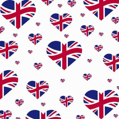 Tapeta Wielka Brytania-serce-flagi-wektor