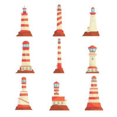 Tapeta Wieże reflektorów do przewodników nawigacyjnych na morzu. Kolekcja latarni morskich ilustracji wektorowych