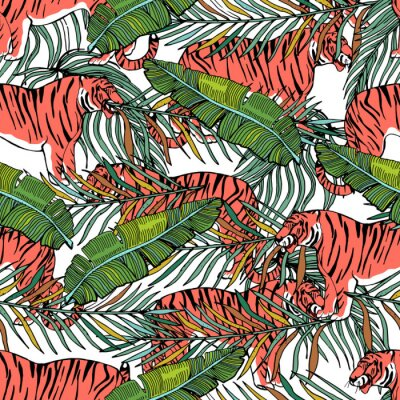 Tapeta Wild big cats. Animals print. Vector tropical background with cheetah, tiger, leopard and tropical plants.