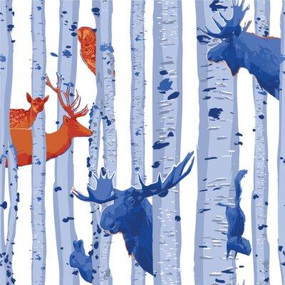 Tapeta Wild forest animals hiding among the birch trees