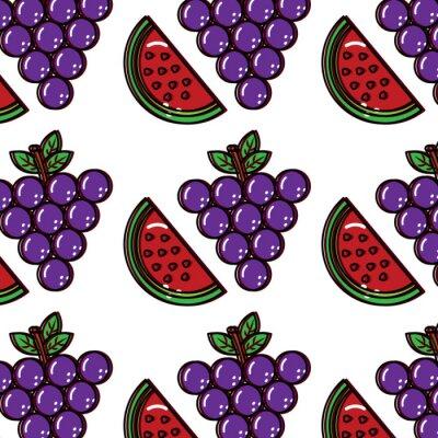 Tapeta winogron arbuz owoców wzór obrazu wektor ilustracja projektu