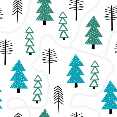 Tapeta Winter seamless pattern with fir trees and pines in snow. Winter forest background. Vector illustration. Cute vector pattern with Christmas trees.