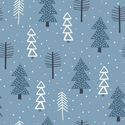 Tapeta Winter seamless pattern with fir trees and pines in snow. Winter forest background. Vector illustration. Seamless vector pattern with Christmas trees.