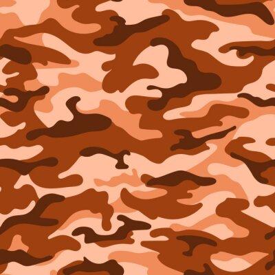 Tapeta Wojskowy wzór kamuflażu bez szwu, pomarańczowy kolor brązowy. Wektor