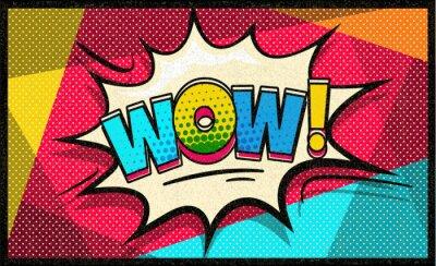 Tapeta Wow wektor pop-artu chmura i bańki. Sexy Wow dymka. Modny kolorowy retro starodawny tło w stylu komiksu retro pop-artu. Bańka społecznościowa. Łatwo edytowalny do swojego projektu.