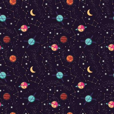 Tapeta Wszechświat z planetami i gwiazda bezszwowym wzorem, kosmos gwiaździsty nocne niebo, wektorowa ilustracja