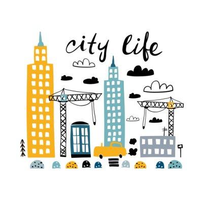 Tapeta Wydruk miejski z kreskówki. Dziecinna wektorowa ilustracja z samochodem, drapacz chmur, budynki, budowniczych żuraw. Idealne do odzieży dziecięcej, nadruków przedszkolnych, dekoracji