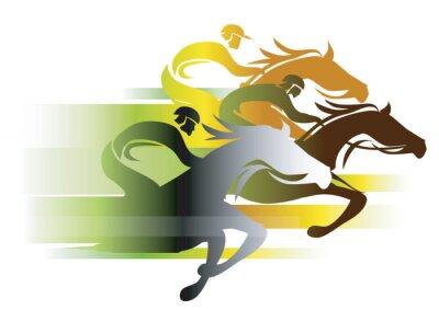 Tapeta Wyścig konny W kolorach jesienią. Trzy wyścigi dżokeje na Full Speed. Kolorowe ilustracji na bia? Ym background.Vector dost? Pne.