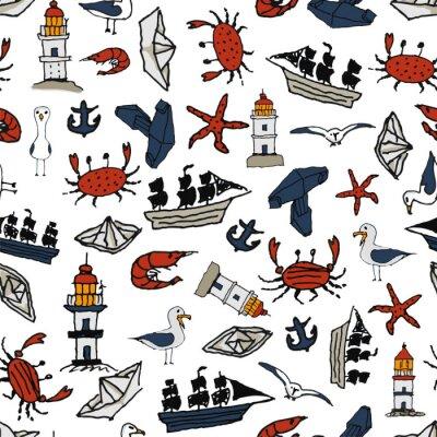 Tapeta wzór morza Z małymi rysunkami. Władywostok