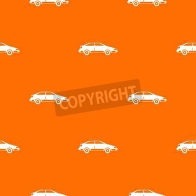 Tapeta Wzór powtarzalny samochodu w kolorze pomarańczowym dla każdego projektu. Wektorowa geometryczna ilustracja