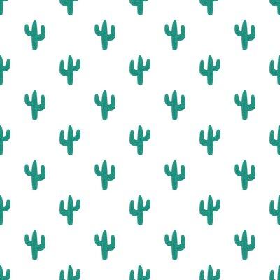 Tapeta Wzór ręcznie rysowane kaktusów. Obraz zielony kaktus z kolcami. Ilustracja dla dzieci, pokój, tekstylia, ubrania, karty, papier pakowy.