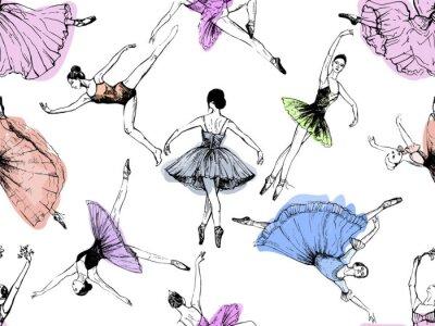 Tapeta Wzór ręcznie rysowane szkic stylu streszczenie tancerzy baletowych na białym tle. Ilustracji wektorowych.