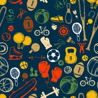 Tapeta Wzór szkicu sportowego. Ręcznie rysowane