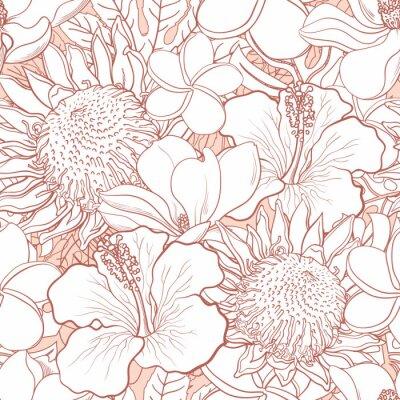 Tapeta Wzór tropikalnych kwiatów - biały wyciągnąć rękę egzotyczne kwiaty hibiskusa, protea, magnolia i plumeria i liści palmowych z linii kolor konturu. Szkic kwiatowy wektor ilustracja.