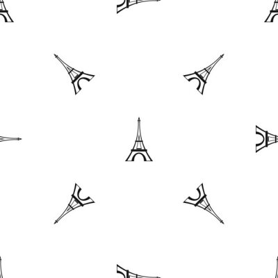 Tapeta Wzór wieży Eiffla bez szwu czarny