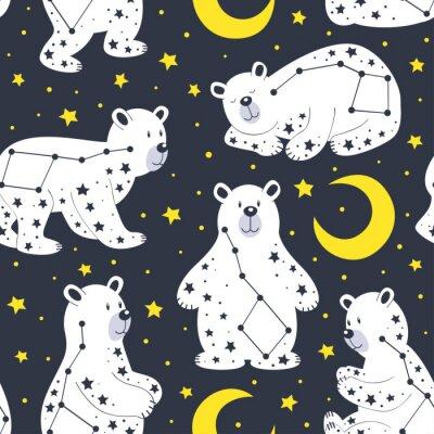 Tapeta wzór z białego niedźwiedzia i gwiazdozbioru Ursa Major - ilustracji wektorowych, eps