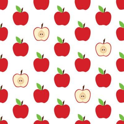 Tapeta wzór z całym jabłkiem i krojem