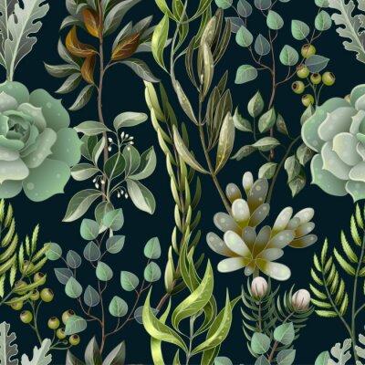 Tapeta Wzór z eukaliptusa, magnolii, liści paproci i sukulentów. Modny prosty tło wektor zioło.