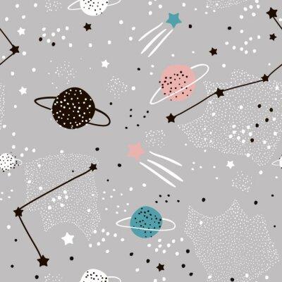 Tapeta Wzór z gwiazdami, konstelacje, planety i ręcznie rysowane elementy. Dziecinna tekstura. Wielki dla tkaniny, tekstylna Wektorowa ilustracja