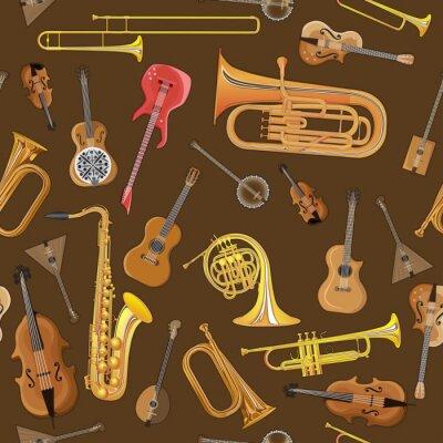 Tapeta Wzór z ilustracji instrumentów muzycznych