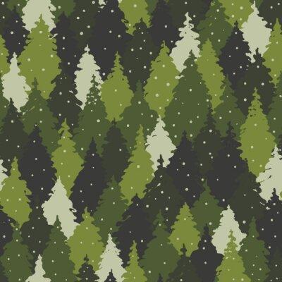 Tapeta Wzór z krajobrazu lasu, kolory kamuflażu