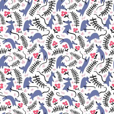 Tapeta Wzór z myszy. Tło z ślicznymi szczurami w trawie. Ilustracja wektorowa kwiatowy
