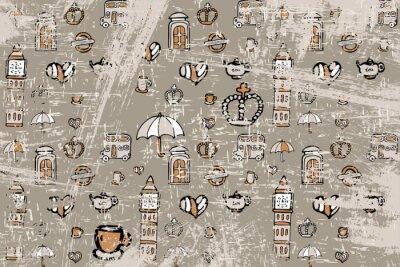 Tapeta wzór z obrazkami na temat Anglii. Dla tych, którzy lubią podróżować. Może być używany do pakowania, zaproszenia, wakacje w karty pocztowe.