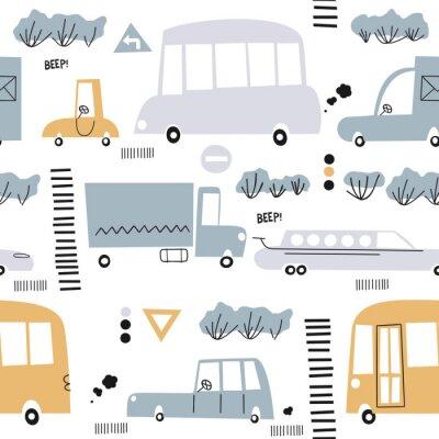 Tapeta Wzór z ręcznie rysowane ładny samochód. Idealny dla dzieci tkanina, tkanina, tapety dziecięce.