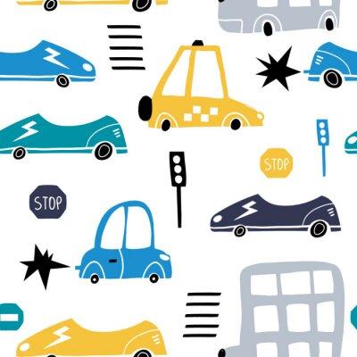 Tapeta Wzór z ręcznie rysowane ładny samochód. Kreskówka samochody, znak drogowy, ilustracja wektorowa przejście dla pieszych. Idealny dla dzieci tkaniny, tekstylia, tapety przedszkola