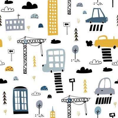 Tapeta Wzór z ręcznie rysowane miasto wydruku. Wieżowiec kreskówka, samochody, znak drogowy, ilustracja wektorowa przejście dla pieszych. Idealny dla dzieci tkaniny, tekstylia, tapety przedszkola