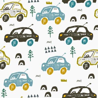 Tapeta Wzór z samochodami. Ręcznie rysowane auta na drodze. Skandynawski styl. Dekoracyjna sztuka abstrakcyjna.