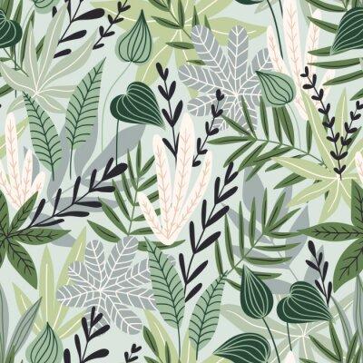 Tapeta Wzór z tropikalnych liści. Piękny nadruk z ręcznie rysowanymi egzotycznymi roślinami. Projekt botaniczny stroje kąpielowe. Ilustracji wektorowych.