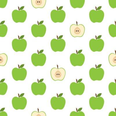 Tapeta wzór z zielonymi jabłkami