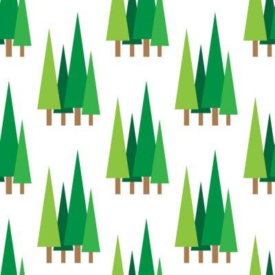Tapeta wzór z zielonymi świerkami