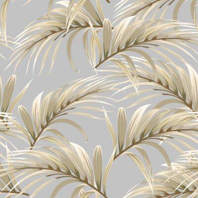 Tapeta wzór z złote liście palmowe na szarym tle