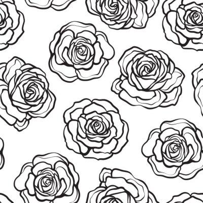 Tapeta Wzrosła kwiat bez szwu. Zarys czarnych róż na białym backg