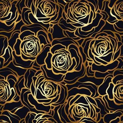 Tapeta Wzrosła kwiat bez szwu. Złote róże na czarnym tle. St