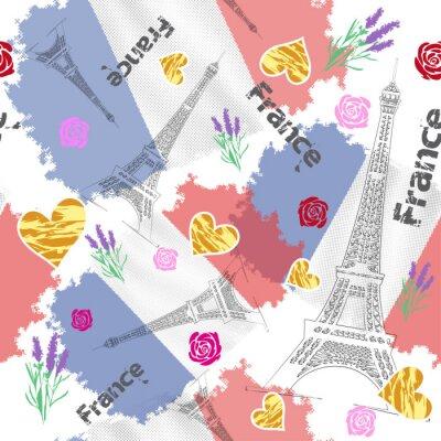 Tapeta Узор с флагом Франции и с Эйфелевой башней