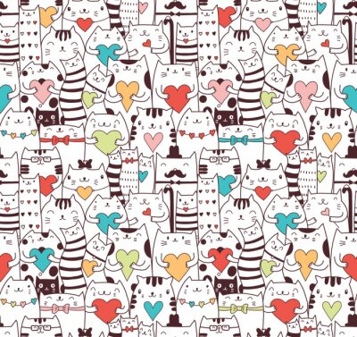 Tapeta Сats with hearts seamless pattern