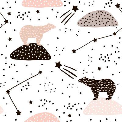 Tapeta Bez szwu deseń z niedźwiedzia polarnego silhouette i konstelacji. Doskonały do tkanin, textile.Vector tle