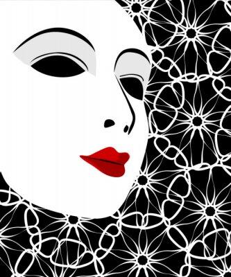 Tapeta Biała maska i czarne tło