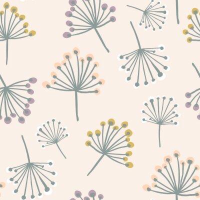 Tapeta Elegancki wzór bez szwu z gałązką kwiatową w pastelowych kolorach. Skandynawski styl wektora tle. Doskonały do tkanin, tekstyliów, tapet