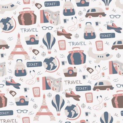 Tapeta Rę cznie Rysowane Travel Bezszwowych Wzór.