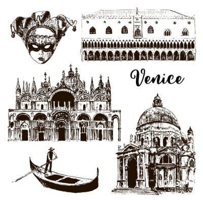 Tapeta Weneckie architektoniczne symbole: maska karnawałowa, palazzo, bazylika, San Marco, gondola itp. Rysowane szkicu ilustracji wektorowych