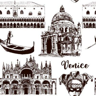 Tapeta Weneckie znaki architektoniczne bezszwowe wzór Wektor zestaw: maska karnawałowa, palazzo, bazylika, San Marco, gondola. naszkicować