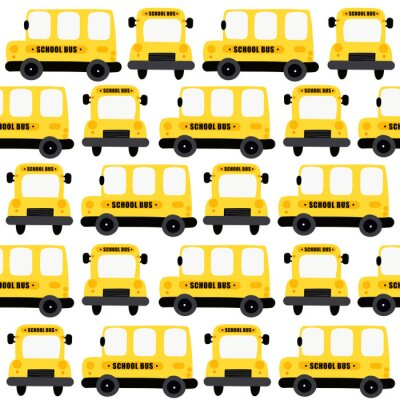 Tapeta Yellow school bus seamless pattern background. Design for fabric, wrapping, textile, wallpaper, apparel..