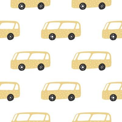 Tapeta Yelow bus seamless pattern. Doodle cars vector illustration.