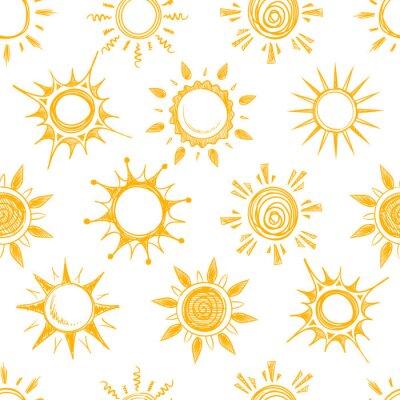 Tapeta Zabawna żółte letnie słońce wektor bezszwowe wzór