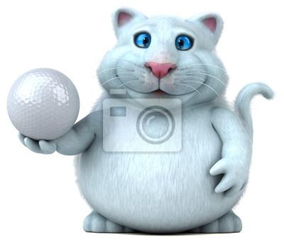 Zabawy Kot 3d Ilustracja Piłka Sport Golf Myloviewpl
