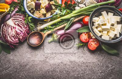 Tapeta Zdrowe Wegetariańskie Jedzenie Z Warzywami Pokrojone W Kostkę